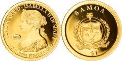 World Coins - Coin, Samoa, classic gold - Isabella II of Spain, Dollar, 2016, , Gold
