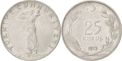 World Coins - TURKEY, 25 Kurus, 1973, KM #892.3, , Stainless Steel, 4.00
