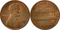 Us Coins - United States, Lincoln Cent, Cent, 1981, U.S. Mint, Denver, , Brass