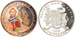 World Coins - Coin, Benin, Francis Drake, 1000 Francs CFA, 1996, Proof, , Silver