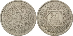 World Coins - MOROCCO, 20 Francs, 1946, Paris, KM #E36, , Copper-Nickel, Lecompte...