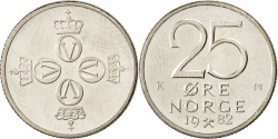 World Coins - NORWAY, 25 Ore, 1982, KM #417, , Copper-Nickel, 17, 2.37