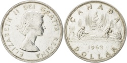 World Coins - CANADA, Dollar, 1962, Royal Canadian Mint, KM #54, AU(50-53), Silver, 36, 23.25