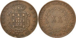 World Coins - PORTUGAL, 20 Reis, 1850, KM #482, , Copper, 24.35