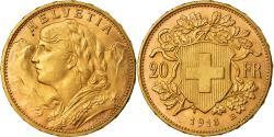 Coin, Switzerland, 20 Francs, 1913, Bern, , Gold, KM:35.1