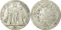 World Coins - Coin, France, Union et Force, 5 Francs, AN 4, Paris, , Silver
