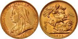 World Coins - Coin, Australia, Victoria, Sovereign, 1893, Melbourne, , Gold, KM:13