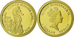 World Coins - Coin, Tuvalu, Elizabeth II, Hippocampe, Dollar, 2010, CIT, Proof,