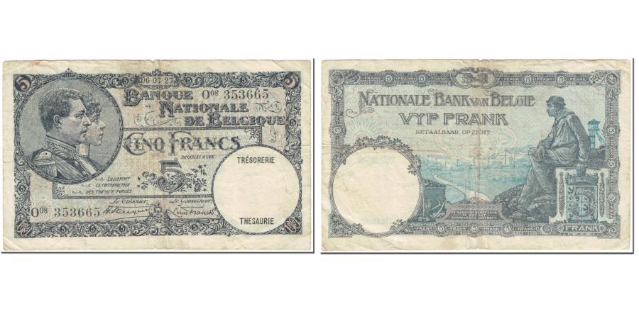 World Coins - Banknote, Belgium, 5 Francs, 1927, 1927-07-06, KM:97b, VF(20-25)