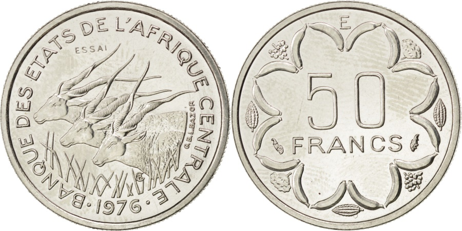 World Coins - CENTRAL AFRICAN STATES, 50 Francs, 1976, Paris, KM #E8, , Nickel, 4.67