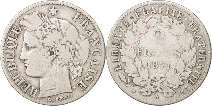 World Coins - France, Cérès, 2 Francs, 1871, Paris, , Silver, KM:817.1, Gadoury:530