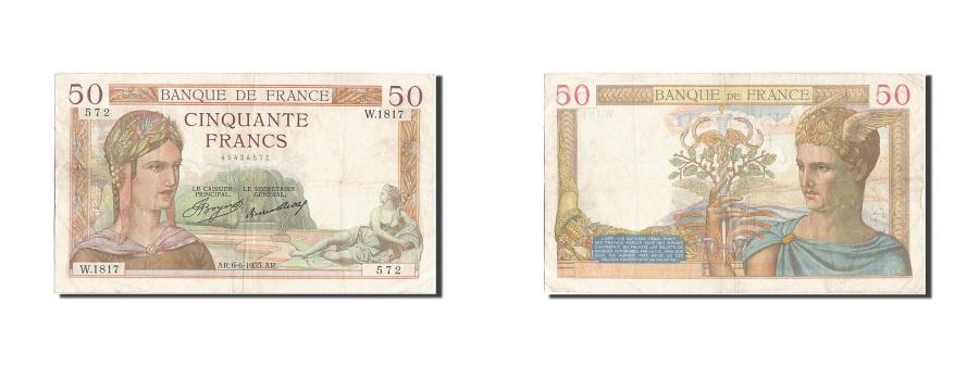 World Coins - France, 50 Francs, 50 F 1934-1940 ''Cérès'', 1935, KM #81, 1935-06-06, VF(20-25)