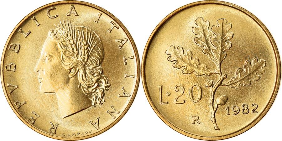 World Coins - Coin, Italy, 20 Lire, 1982, Rome, , Aluminum-Bronze, KM:97.2