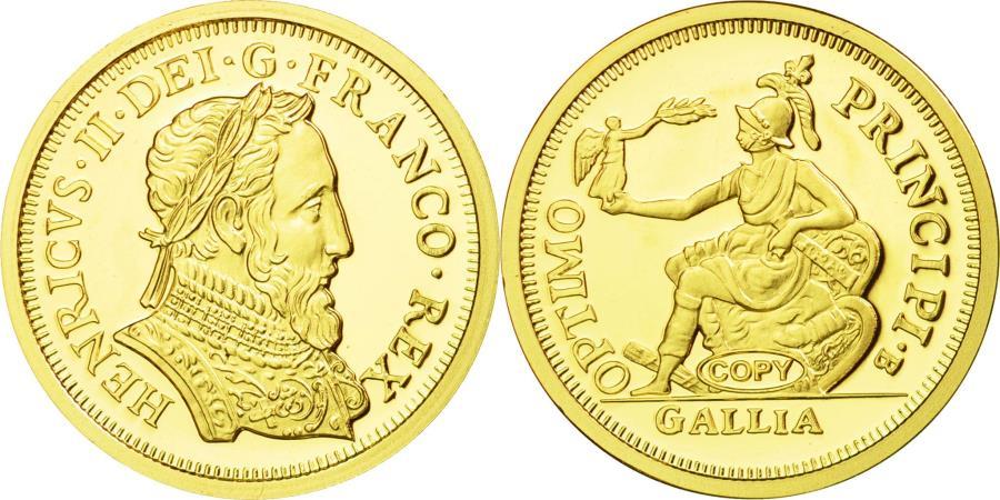 World Coins - France, Medal, Reproduction, Henri d'Or à la Gallia, Henri II, , Gold