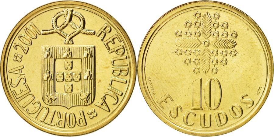 World Coins - Portugal, 10 Escudos, 2001, Lisbon, , Nickel-brass