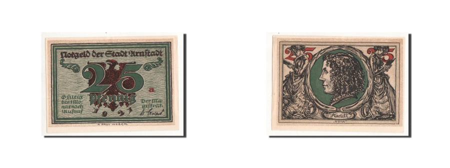 World Coins - Germany, Arnstadt, 25 Pfennig, portrait, 1921, UNC(65-70), Mehl:43.2