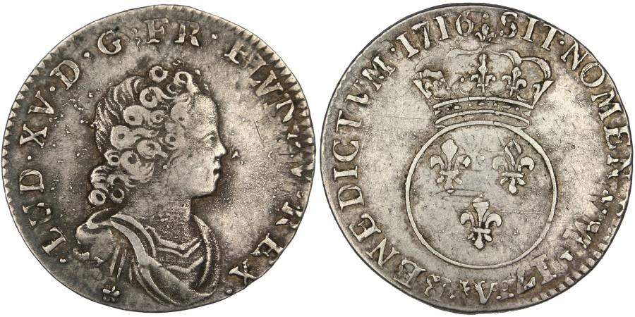 World Coins - FRANCE, 1/10 Écu Vertugadin, 12 Sols, 1/10 ECU, 1716, Lille, KM #418.17, ...