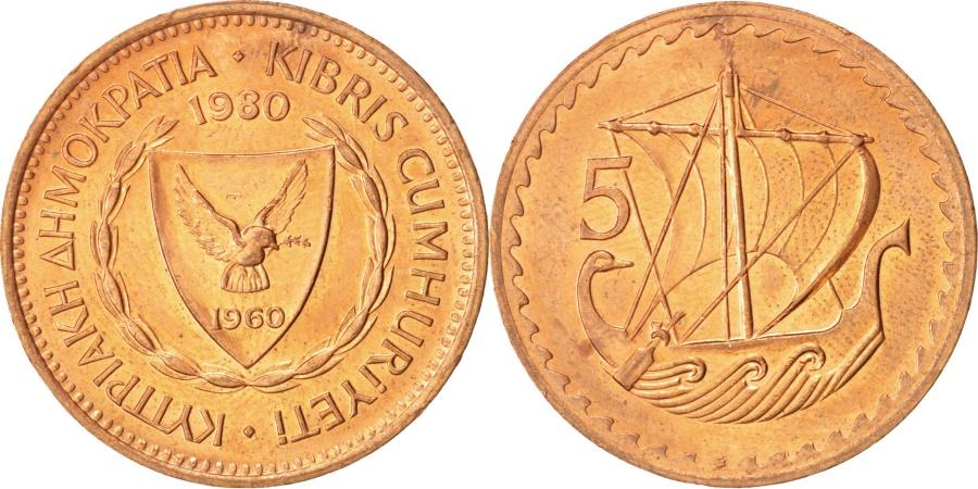 World Coins - Cyprus, 5 Mils, 1980, , Bronze, KM:39