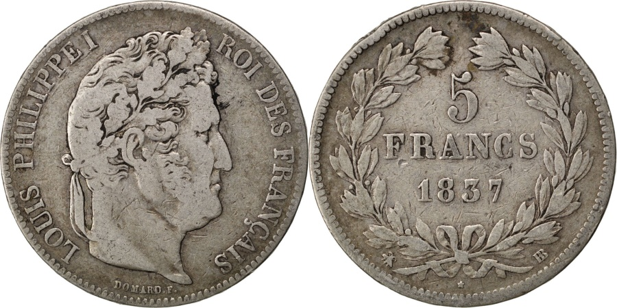 World Coins - FRANCE, Louis-Philippe, 5 Francs, 1837, Strasbourg, KM #749.3, ,...