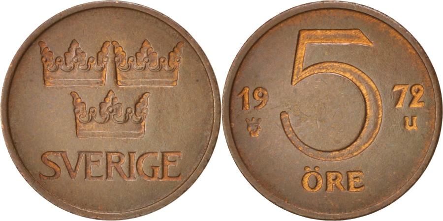 World Coins - Sweden, Gustaf VI, 5 Öre, 1972, , Bronze, KM:845