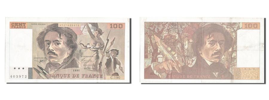 World Coins - France, 100 Francs, 100 F 1978-1995 ''Delacroix'', 1991, KM #154f, AU(50-53),...