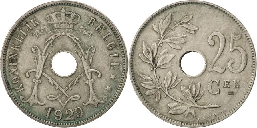 World Coins - BELGIUM, 25 Centimes, 1929, KM #69, , Copper-Nickel, 26, 6.46