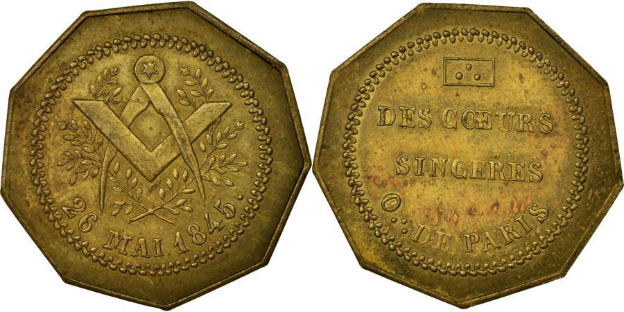 France, Token, Masonic, 1845, AU(55-58), Brass, Labouret:180