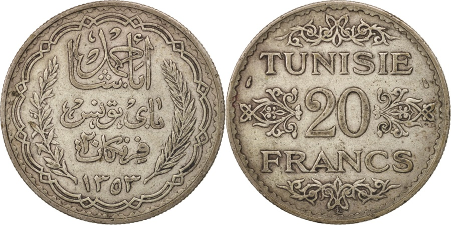 World Coins - Tunisia, Ahmad Pasha Bey, 20 Francs, 1934, Paris, , Silver, KM:256