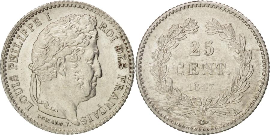 World Coins - France, Louis-Philippe, 25 Centimes, 1847, Paris, , Silver, KM:755.1