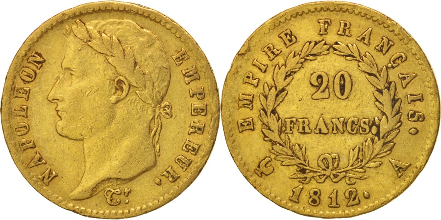 World Coins - France, Napoléon I, 20 Francs, 1812, Paris, , Gold, KM:695.1