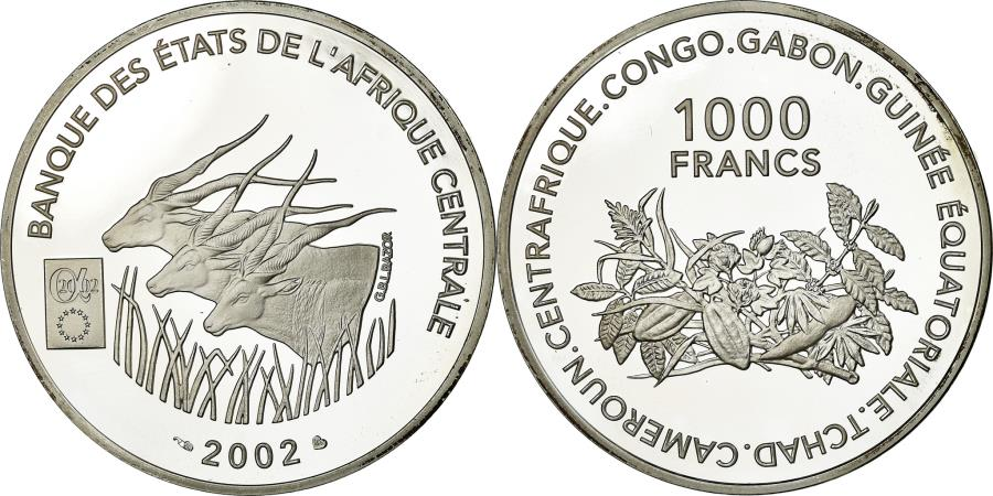 World Coins - Coin, Central African States, 1000 Francs, 2002, , Silver