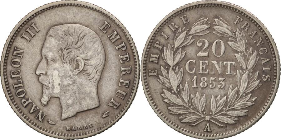 World Coins - France, Napoleon III, Napoléon III, 20 Centimes, 1853, Paris,