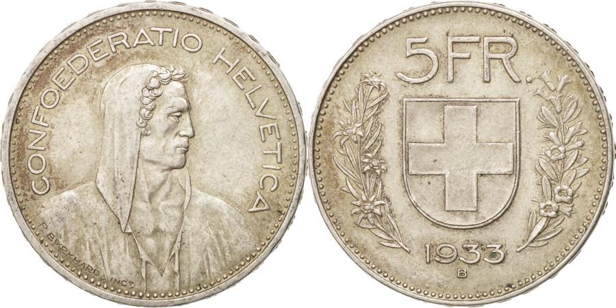 World Coins - Switzerland, 5 Francs, 1933, Bern, , Silver, KM:40