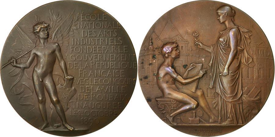 World Coins - France, Medal, Ecole Nationale des Arts Industriels, Roubaix, 1890, Chaplain