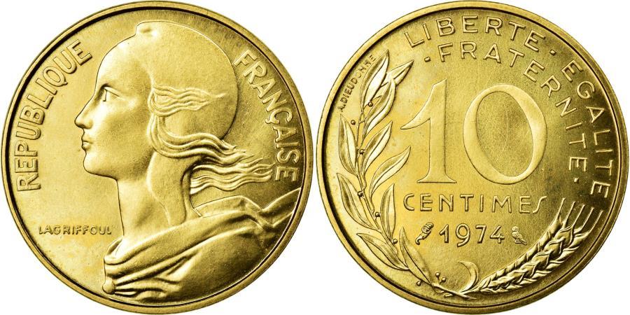 World Coins - Coin, France, Marianne, 10 Centimes, 1974, Paris, MS(65-70), Aluminum-Bronze