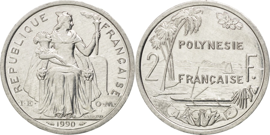 World Coins - FRENCH POLYNESIA, 2 Francs, 1990, Paris, KM #10, , Aluminum, 27,...