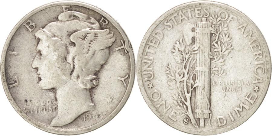 US Coins - UNITED STATES, Mercury Dime, Dime, 1943, U.S. Mint, KM #140, , Silver,.