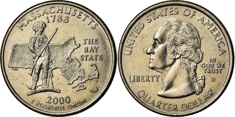 US Coins - Coin, United States, Massachusetts, Quarter, 2000, Denver,