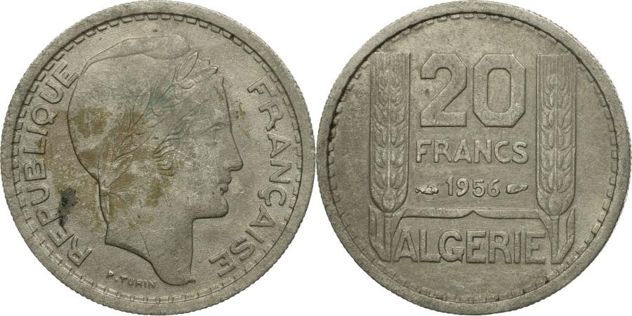 Coin Algeria 20 Francs 1956 Paris Copper Nickel KM91