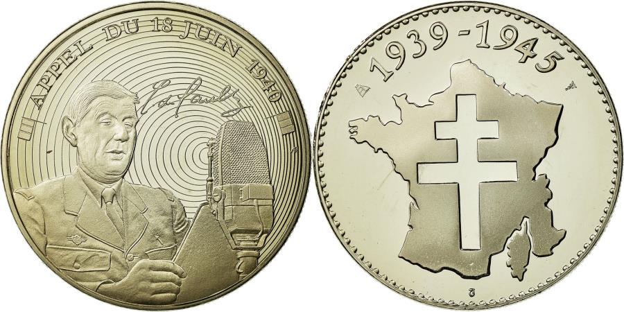 World Coins - France, Medal, Charles De Gaulle, Appel du 18 juin 1940,