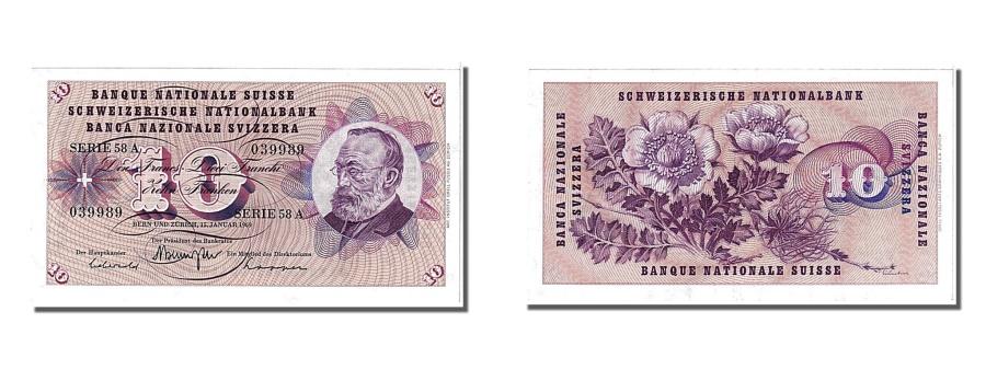 World Coins - Switzerland, 10 Franken, 1969, KM #45o, 1969-01-15, AU(55-58), 58A