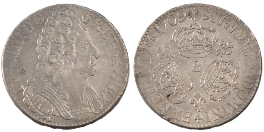 World Coins - FRANCE, Écu aux 3 couronnes, ECU, 1709, Rouen, KM #386.2, , Silver, ...