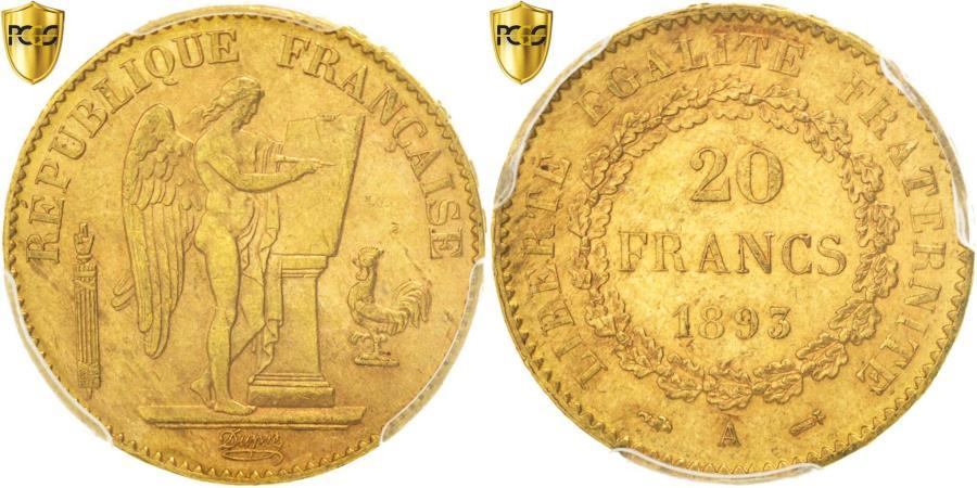 World Coins - Coin, France, Génie, 20 Francs, 1893, Paris, PCGS, MS62, , Gold