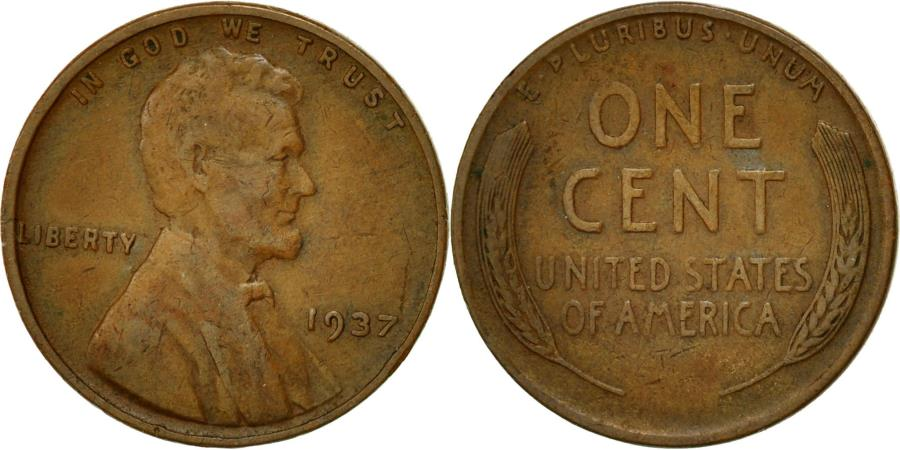US Coins - Coin, United States, Lincoln Cent, Cent, 1937, U.S. Mint, Philadelphia