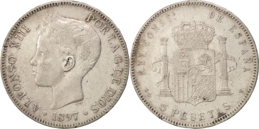 World Coins - Spain, Alfonso XIII, 5 Pesetas, 1897, Valencia, , Silver, KM:707