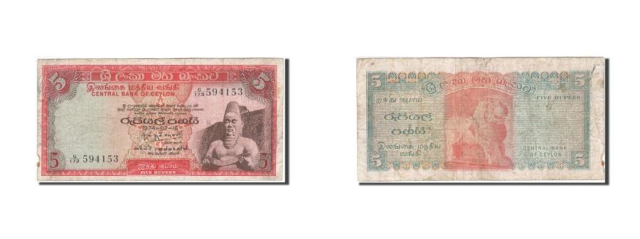 World Coins - Ceylon, 5 Rupees, 1968-1969, 1974-07-16, KM:73b, F(12-15)