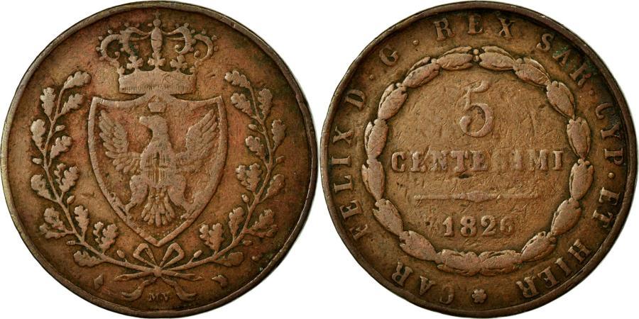World Coins - Coin, ITALIAN STATES, SARDINIA, Carlo Felice, 5 Centesimi, 1826, Torino