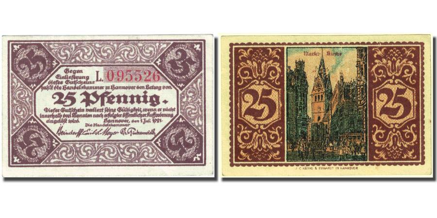 World Coins - Banknote, Germany, Hannover, 25 Pfennig, Eglise, 1921 AU(55-58) Mehl:572.1