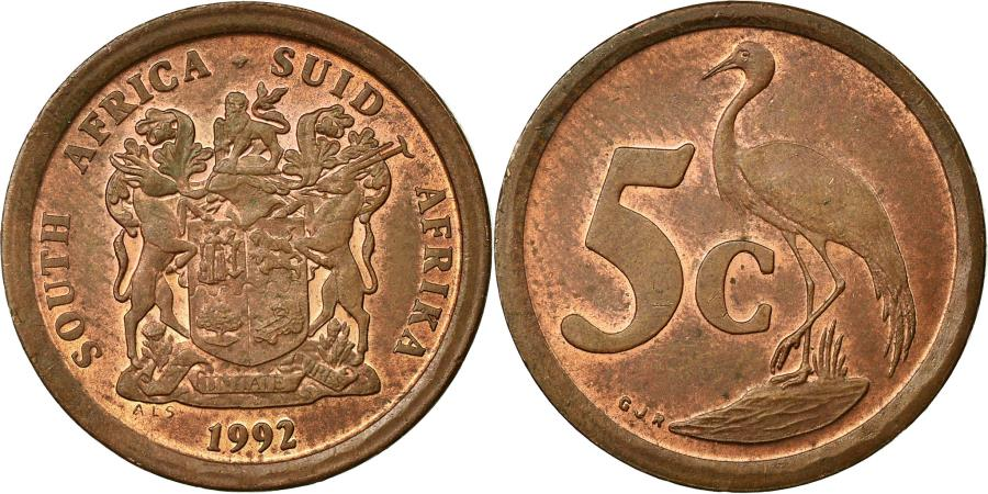 World Coins - Coin, South Africa, 5 Cents, 1992, , Copper Plated Steel, KM:134
