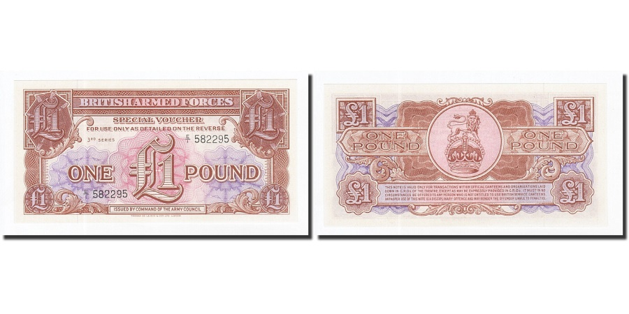 British United Kingdom Armed Forces Note 1 Pound 3rd Series UNC